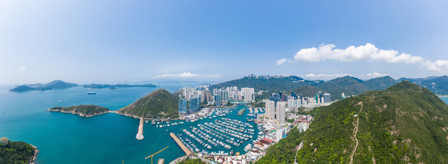Fototapete - Aerial view of Aberdeen, Hong Kong, daytime, outdoor