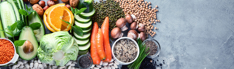 Plant based diet ingredients Fotobehang