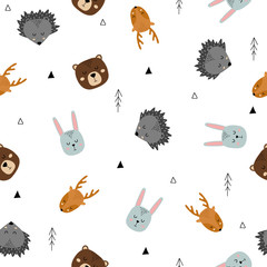 Seamless pattern of cute hand drawn sleeping animals. Cartoon zoo. Vector illustration. Animal for design of children's products in scandinavian style.