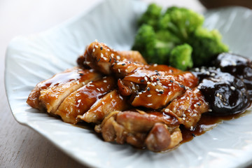 japanese food , Chicken teriyoki with rice on wood background