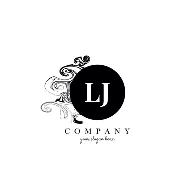 LJ Initial Letter Logo Design with Ink Cloud Flowing Texture Vector.
