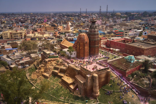 Madan Mohan temple in Vrindavan, Idnia, aerial drone view