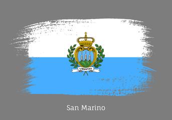 San Marino official flag in shape of brush stroke Wall mural