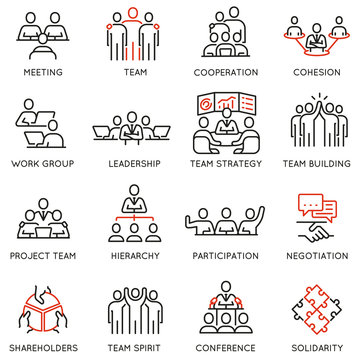 Vector set of linear icons related to business process, team work and human resource management. Mono line pictograms and infographics design elements - part 7