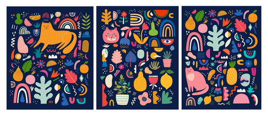 Fototapete - Cute spring pattern collection with cat. Modern posters. Decorative abstract collection with colorful doodles. Hand-drawn modern illustrations with cats, flowers, abstract elements