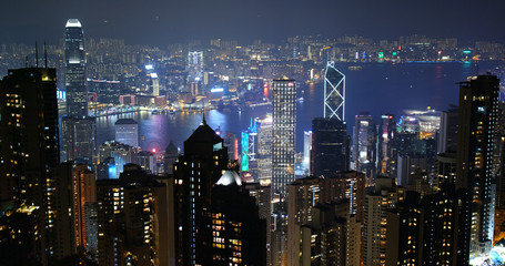 Fototapete - Hong Kong city at night
