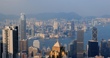Fototapete -  Hong Kong landmark at sunset