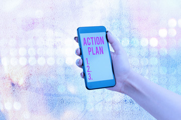 Handwriting text Action Plan. Conceptual photo detailed plan outlining actions needed to reach goals or vision