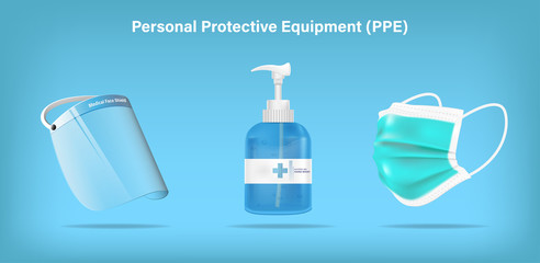 Isolated medical personal protective equipment face shield, mask, and alcohol gel on background. Pandemic covid-19 virus and protection coronavirus concept. Vector illustration design. Fotoväggar