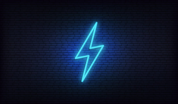 Neon lightning, thunder and electricity. Lightning bolt neon sign