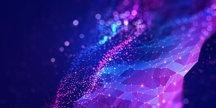 Abstract neural network 3D illustration. Big data concept. Global database and artificial intelligence. Bright, colorful background with bokeh effect
