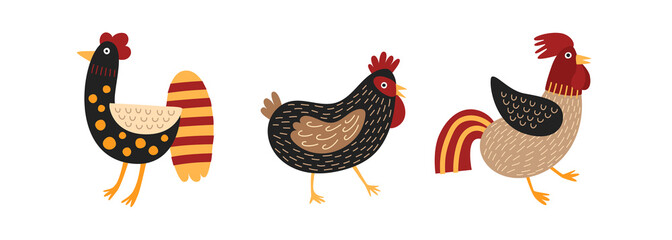 Set of funny roosters and chicken isolated on white background. Cartoon cute domestic fowl, poultry or farm birds. Picture for design of card, clothes, poster. Vector illustration in children`s style.