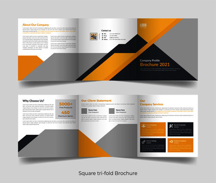 Corporate business professional 6 pages square tri fold brochure template design