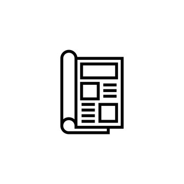 Magazine open page vector icon. Newspaper icon. Journal symbol. Book sign. Trendy Flat style for graphic design, Web site, UI. EPS10. - Vector illustration