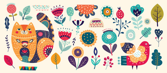 Fototapete - Big spring collection with flowers, leaves, bird, cat and spring symbols and decorative elements