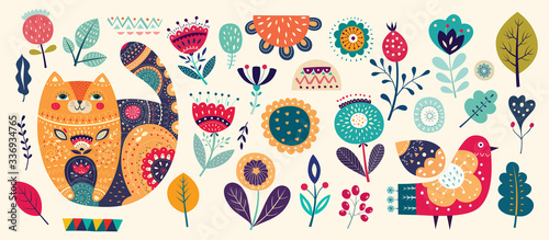 Fototapete Big spring collection with flowers, leaves, bird, cat and spring symbols and decorative elements