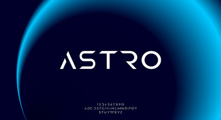 Astro, an abstract sporty technology science alphabet font. digital space typography vector illustration design Fototapete