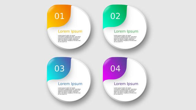 vier stufen runde infografik elemente