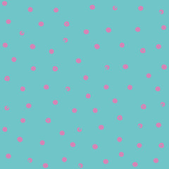 delicate hand-drawn small pink polka dots on a turquoise background, seamless vector pattern, for packaging paper, Wallpaper, fabric