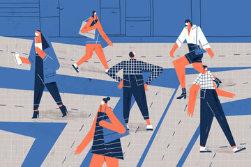 Adults and businesspeople walking down sidewalk keeping safe distance. Social distance conceptual illustration.