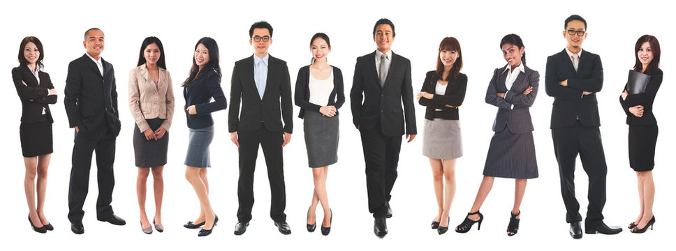 Diverse Asian business people