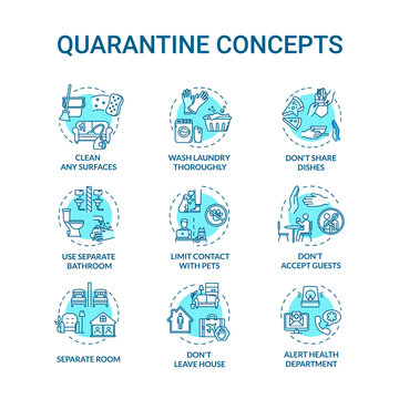 Quarantine turquoise concept icons set. Clean surfaces. Do not accept guests. Self-isolation idea thin line RGB color illustrations. Vector isolated outline drawings. Editable stroke