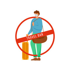 Travel ban flat color vector faceless character. Man with baggage. Avoid public transport. Stop transmission. Quarantine rules isolated cartoon illustration for web graphic design and animation