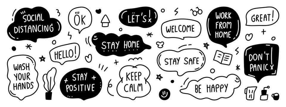 Set of Warning sign sticker, social media stickers , Hand drawn speech bubble for Coronavirus COVID-19 prevention. stay home, work at home, social distancing, stay safe banner design vector.