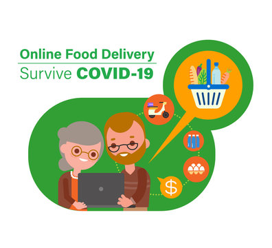 Online food delivery during Covid-19 virus pandemic. Seniors ordering groceries online. vector illustration in flat design style cartoon.