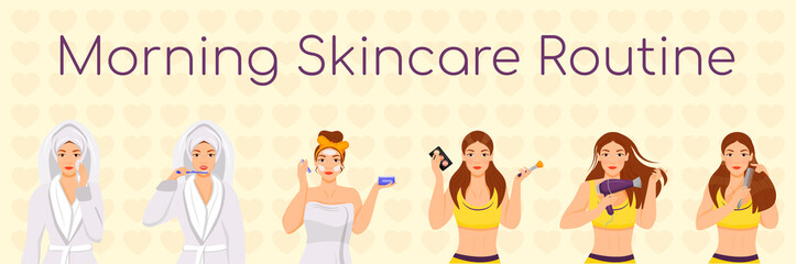 Woman morning skincare routine flat color vector characters set. Face and hair daily procedures isolated cartoon illustrations on white background. Girl cleansing face, doing make up, styling hair