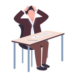 College student in panic flat color vector faceless character. Guy received bad test results isolated cartoon illustration for web graphic design and animation. Education problem, exams failure