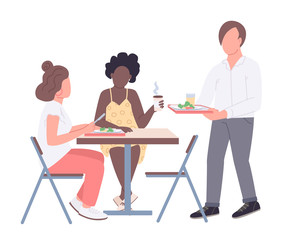 College friends flat color vector faceless characters. Teenagers on lunch break in cafeteria isolated cartoon illustration for web graphic design and animation. Student lifestyle, communication