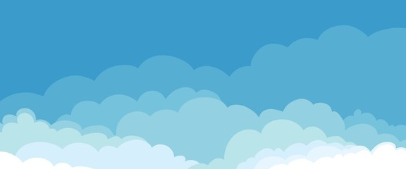 Abstract landscape with clouds. Vector illustration, background with blue sky Fototapete