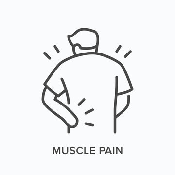 Person with backache line icon. Vector outline illustration man with musle pain. Human with spine problems