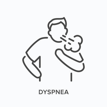Cothing man line icon. Vector outline illustration person with lung problems . Astma patient