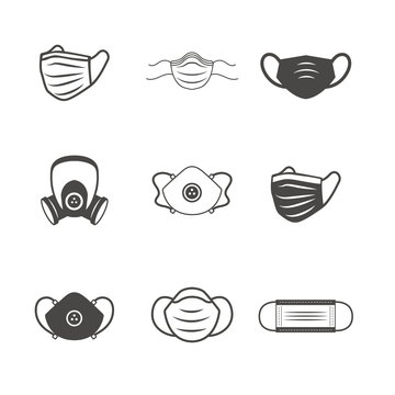 Sanitation and protection facemask ppe icon set w respiratory face masks
