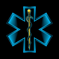 The star of life with rod of Asclepius emblem. Vector illustration in engraving technique. Modern symbol of medicine, emergency medical services, paramedics, technicians. Isolated on white.