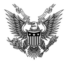 Eagle with shield and ribbon. Vector illustration of bald eagle with shield, arrows and olive branch in engraving technique. Isolated on white.