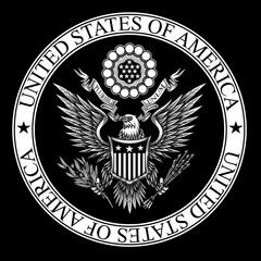 United States of America coat of Arms. Vector illustration of bald eagle with shield, arrows, ribbon and olive branch in engraving technique. Isolated on black.