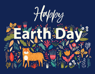 Fototapete - Happy Earth Day illustration. Big Vector colorful summer collection with flowers, leaves and tiger. Trendy vector cartoon illustration