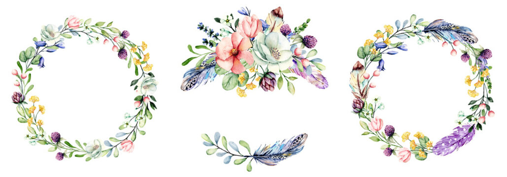 Set wreaths, watercolor painting, floral frame with flowers, feathers. Perfectly for printing design on birthday invitations, cards and other. Isolated on white.