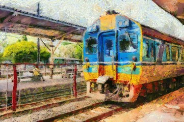 Deurstickers Diesel trains of Thai trains parked at the train station Illustrations creates an impressionist style of painting.