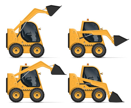 Skid steer loader view from side isolated on white background. Construction and agricultural vehicle vector template, all elements in the groups on separate layers for easy editing and recolor