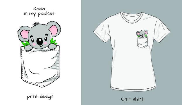 Koala`s baby in t shirt pocket. Funny animals in my pocket design