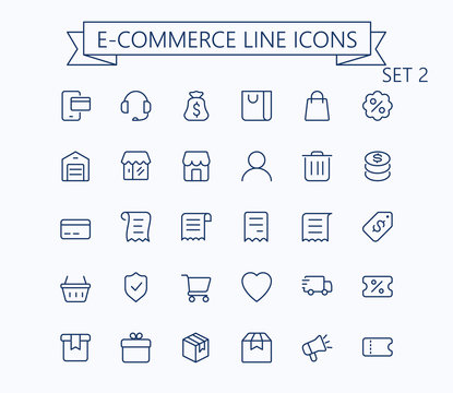 Shopping and e-commerce vector outline mini line icons set.  24x24 px. Pixel Perfect. Editable stroke.
