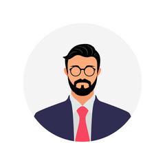 Businessman Avatar Image with Beard Hairstyle, Male Profile Vector Illustration