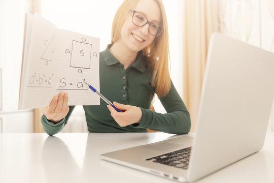 Math teacher explains online lesson to students School quarantine training concept