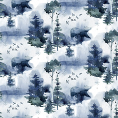 Wall Mural - Watercolor winter forest seamless pattern. Christmas tree landscape with Pine Trees fir in the Mountains. Hand painted blue Background. Snow holiday design paper