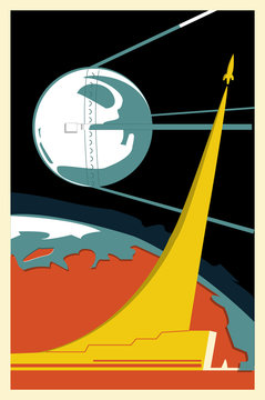 cosmonautics day vector card, space card, space