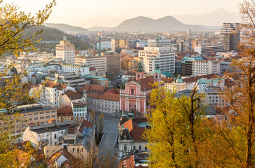 Panoramic view of Ljubljana, capital of Slovenia, at sunset. Empty streets of Slovenian capital during corona virus pandemic social distancing measures in 2020 Fototapete